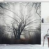 ABAKUHAUS Natur Duschvorhang, Herbst Baum im Nebel dunkel, Waserdichter Stoff mit 12 Haken Set Dekorativer Farbfest Bakterie Resistet, 175 x 180 cm, Grau
