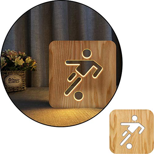 Signo de fútbol de patada 3D Lámpara de mesa blanca tallada tallada de madera, lámpara de noche 2.5W, lámpara de vivero, decoración del hogar o regalos para niños y adultos, sala de estar de dormitori