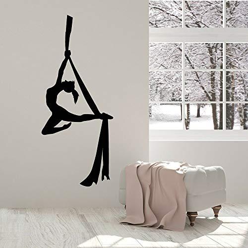 AQjept Decalcomania della Parete del Vinile di Yoga Aerea Decorazione Classe di Danza Adesivi murali dell'equilibrio della Bella Ragazza per Studio Art114x46cm