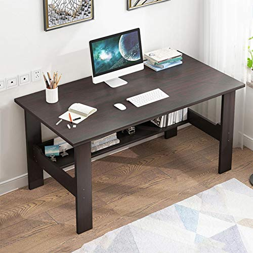 "Computer Desk for Home Office Living Room, 39.5"" Wooden Smooth Desktop Table Corner Writing Study Desk with Two Layers Storage Book Shelf, Save Space (Black)"