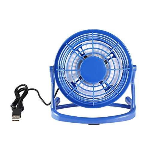 Portable DC 5V Small Desk USB 4 Blades Cooler Cooling Fan USB Mini Fans Operation Super Mute Silent PC/Laptop/Notebook - Blue