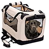 2PET Foldable Dog Crate - Soft, Easy to Fold & Carry Dog Crate for Indoor & Outdoor Use - Comfy Dog Home & Dog Travel Crate - Strong Steel Frame, Washable Fabric Cover, Frontal Zipper XL Beige