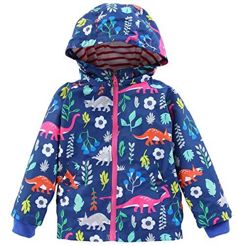 LIUONEXI Kinder Mädchen Jungen Regenazug Tier Aufdruck Regenjacke Regenhose Übergangsjacke Frühling Sommer Herbst, Jacke(blau), 110