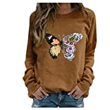 BOIYI Women's Crewneck Long Sleeve Tops T-Shirt Butterfly Printed Casual Loose Pullover Blouse Solid Colour Jumper Sweatshirt(Brown,XL)