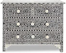 Mother of Pearl Inlay Floral Chest of Four Drawer (Black)
