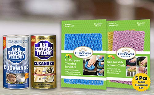Bar Keepers Friend Cleaning Kit - Cooktop Cleaner, BKF Powder Soft Cleanser, Non-Scratch Scrubbers for Kitchen, Bathroom, Rust, Home