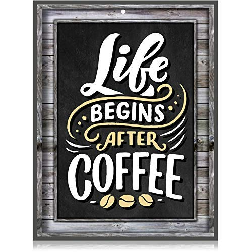 Coffee Signs Kitchen Decor - Life Begins After Coffee Wall Decor Sign - 1175 inch x 9 inch - Rigid Thick PVC - for Home Coffee Station Coffee House Menu - Printed Wood Frame and Chalkboard Look