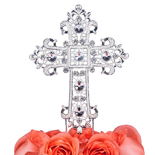 LOVENJOY Gift Box Pack Cross Rhinestone Crystal Cake Decoration Topper for Wedding Religious Baptism Christening First Communion Confirmation (4.5-inch wide)