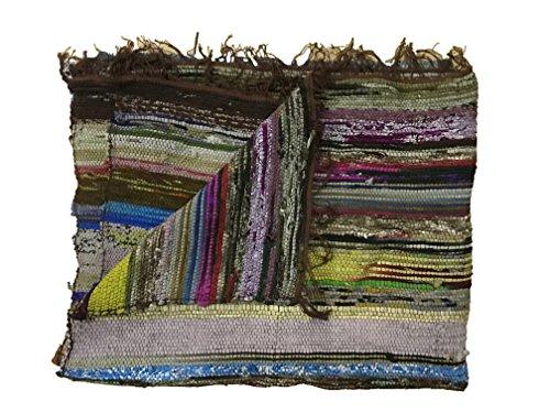 Handgefertigter, dekorativer Flickenteppich, Chindi-Teppich, mehrfarbig, 150x 90cm braun