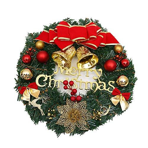 LONGCHAO Künstliche Weihnachtskranz Deko, 30CM Christmas Wreath Decoration Künstlicher Kranz Weihnachten Künstliche Kranz Deko für Parties Feste Türen Halloween Weihnachten Deko mit Bowknot, Glocken