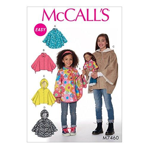 McCall 's Patterns Kinder/Mädchen/Puppen Poncho, mehrfarbig, Größen 3–6, 18