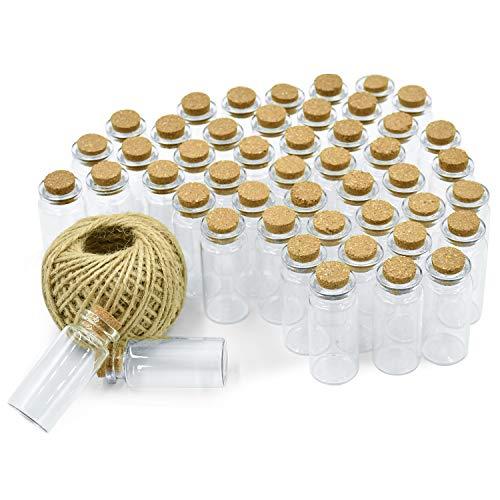 Wandefol 48 Order 45 Mini Glasfläschchen mit Korken, 10ml (5cm x 2cm) Klein Glasflaschen Fläschchen mit Korkenverschluss, und 30m Garn, Hochzeitseinladung, Schmuck DIY Projekte, Bastel