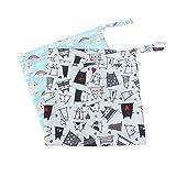 Toyvian Windeltasche mit Reißverschluss, wasserfest, wiederverwendbar, für Babywindeln, 2 Stück, Katze + Regenbogen-Pferd