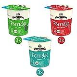 Mondamin Porridge Snack Becher Set mit den Varianten Klassisch (3 Stück), Apfel (3 Stück) und Erdbeere (3 Stück) - (9x 70g) -