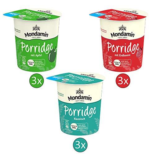 Mondamin Porridge Snack Becher Set mit den Varianten Klassisch (3 Stück), Apfel (3 Stück) und Erdbeere (3 Stück) - (9x 70g)