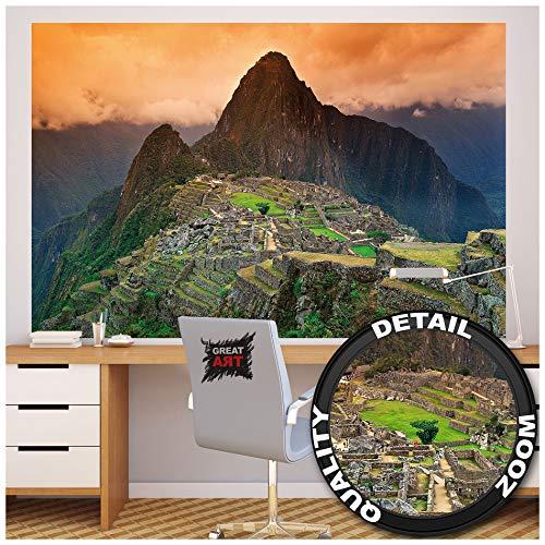 GREAT ART XXL Poster – Machu Piccu – Wandbild Dekoration Südamerika Peru Sehenswürdigkeiten Inka Stadt Ruine UNESCO Welterbe Kulturlandschaft Wandposter Fotoposter Wanddeko (140 x 100 cm)