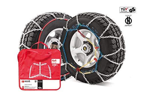 J-4X4 - Juego de dos cadenas de nieve para todo terrenos y SUV talla 480, válidas para neumáticos: 33.00/12.50_R15, 325/60_R15, 285/75_R16, 255/75_R17, 285/65_R17, 285/60_R18, 285/65_R18, 275/50_R20, 275/60_R20, 285/50_R20, 295/45_R20,