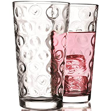 Circleware Circles Drinking Glasses, Set of 4, 17 ounce