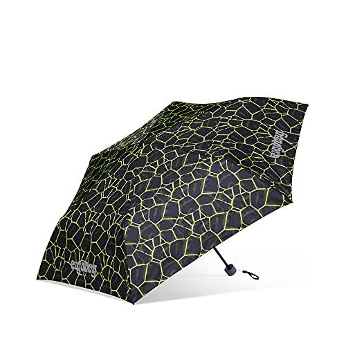 ergobag Regenschirm - Schultaschenschirm für Kinder, extra leicht mit Tasche, Ø90cm DrachenfliegBär - Schwarz