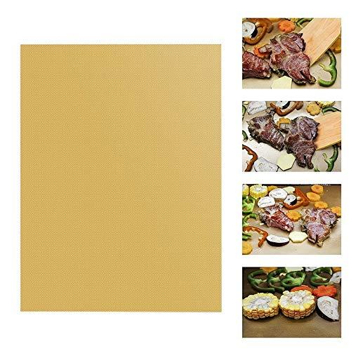 LT-HOME, 1/2/3 / 5pcs Non-stick BBQ Grill Mat Baking Mat Teflon Kochen grille Blatt Hitzebeständigkeit leicht zu reinigen Küchenwerkzeuge 33 * 40 * 0,2 mm ( Farbe : Gold , Größe : 33x40x0.2mm 2 pcs )