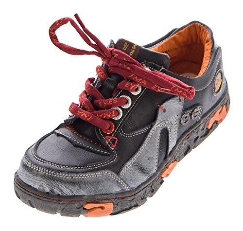 TMA Comfort Damen Sneakers Leder Schuhe Schwarz Turnschuhe Schnürer Halbschuhe Gr. 36