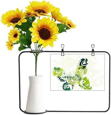 Beauty Gift Animal Green Butterfly Graffiti Artificial Sunflower Vases Bottle Blessing Card