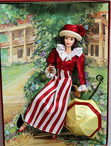 Mattel Year 1997 Barbie Collector Edition Coca-Cola Fashion 2nd in A Series Classic 12 Inch Doll - After the Walk Barbie Doll with Colorful Red and White Dress and Jacket, Straw Cloth Hat, Open Parasol, Fan, Pantyhose, Shoes, Plastic Coca Cola Glass Replica, Doll Stand and Certificate of Authenticity by Barbie