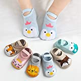 Barakara Socken für Baby, 6 Paar Niedliche Baumwollbabysocken Knöchelsocken, Cartoon Kinder rutschfest atmungsaktive Kindersocken Low Cut Boots-Socken für 0-3 yeas Mädchen Jungen