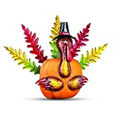 Create a whimsical and unique fall decoration with these eight clever turkey poke-ins The colorful metal pieces include 5 tail feathers, 2 wings and a turkey head that easily poke into your pumpkin for a charming fall accent for your porch Largest pi...