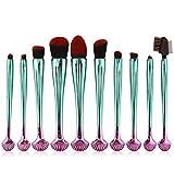 VFJLR 10pcs pinceles de maquillaje de concha de colores set polvo de mezcla de base sombra de ojos labio maquillaje de cejas kit de herramientas cosméticas multiblack