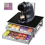 Masthome 72 Dolce Gusto Cápsula Soporte con 2 Piezas Extra Paño de Limpieza,Pod Cajón de Almacenamiento y Soporte para Máquina de Café