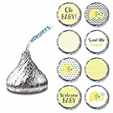 Adorebynat Party Decorations - EU Amarillo Gris elefante Etiqueta para los besos de Hershey chocolate S - Baby Shower caramelo etiqueta - Set 240