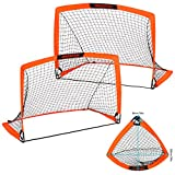 WEKEFON Soccer Goals, Set of 2 - Size 3.6'x2.7' Portable Foldable Pop Up Soccer Net for Backyard Training Goal for Kids and Youth Soccer Practice with Carry Bag
