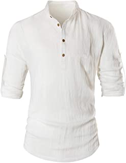 Men's Casual Tops Cotton Linen Solid Slim Long Sleeve Button Vintage T Shirts Blouses