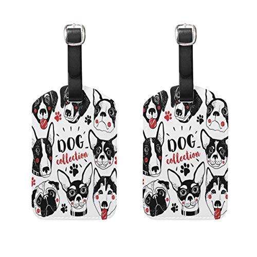 LINDATOP Gepäckanhänger mit Hundemotiv, für Gepäck, Koffer, 2 Stück