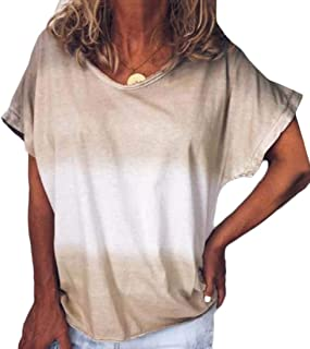 Women's Tie Dye Casual T-Shirt Tops Gradient Print Short Sleeve Summer Tees Blouse