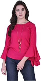 Fraulein Girl's/Women's Tops Bell Sleeves Stylish Trendy Crepe Solid Colour Regular Fit Tops