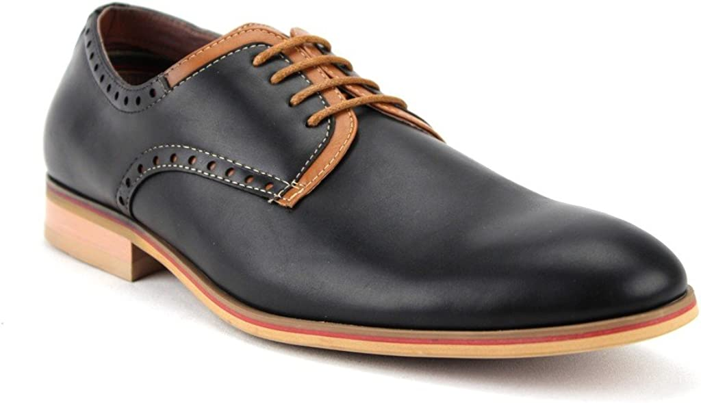 Men's 19393LE Lace Up Two Tone Round Toe Derby Oxfords Dress Shoes