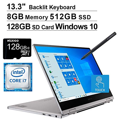 2020 Samsung_Notebook 9 Pro 13 FHD 1080P Touchscreen 2-in-1 Laptop| Intel Core i7-8565U up to 4.6GHz| 8GB LPDDR3 RAM| 512GB SSD| FP Reader| Backlit KB| Win 10 + NexiGo Wireless Mouse Bundle