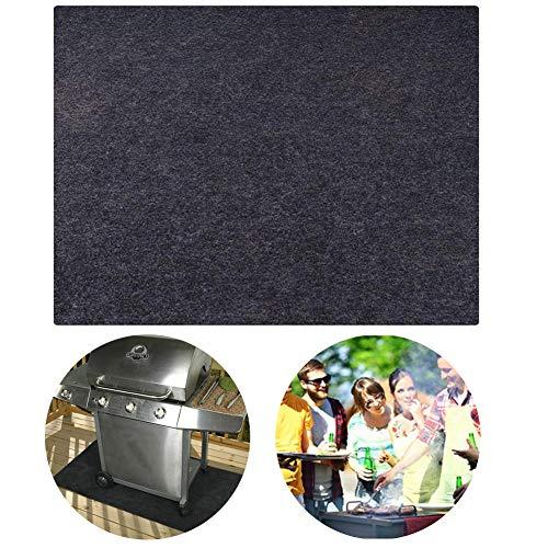 wenhe - Alfombra de protección para barbacoa, bajo alfombra y parrilla reutilizable, cubierta ignífuga, para barbacoa, alfombra protectora antideslizante para terraza y barbacoa.