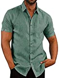 Camisas de manga corta para hombre de algodón de lino con botones y cuello extendido camisas lisas con bolsillo