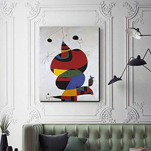 nobrand MHHSFN Pablo Picasso Miro Frau Vogel Stern Leinwand Malerei Drucke Wohnzimmer Wohnkultur Moderne Wandkunst Dekor-40x50cm kein Rahmen