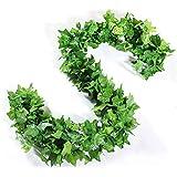 JUN-H 12 Pièces Artificielle Lierre Suspendu Guirlande Faux Lierre Artificiel Feuillage Vert Feuilles De Mariage pour Bureau Cuisine De Jardin Partie Mur Décoration(24m)