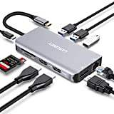 Lasuney Triple Display USB Type C HUB with to 2 HDMI, Displayport, PD3.0, Ethernet, 3 USB Ports, SD/TF, Multiport Adapter Docking Station Dongle for IPad MacBook Air Pro and More