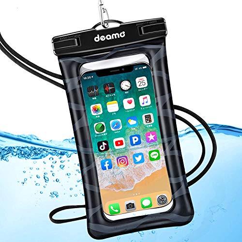 防水ケース【水に浮く・指紋認証】IPX8認定獲得 iPhone11 pro/Xs Max/ 8Plus、Samsung 、Xperia等全機種対応 水泳 海 プール ダイビング 釣り お風呂 砂浜 水遊び等で大活躍 高級ネックストラップ付属 防水携帯ケース スマホ用防塵・防水ケース