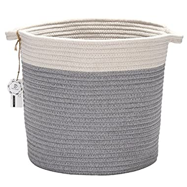 Sea Team 12.2 H x 11.8 D Bicolor Natural Cotton Thread Woven Rope Storage Basket Bin Hamper with Handles for Nursery Kid's Room Storage (Grey & Nature)
