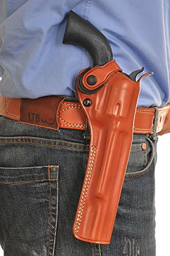 Premium Leather Paddle OWB Revolver Holster, with Retention Strap Fits, Ruger Super Redhawk Alaskan Shroud Barrel 480/454 Casull 45 Colt 7.5' BBL, Right Hand Draw, Brown Color #1431#
