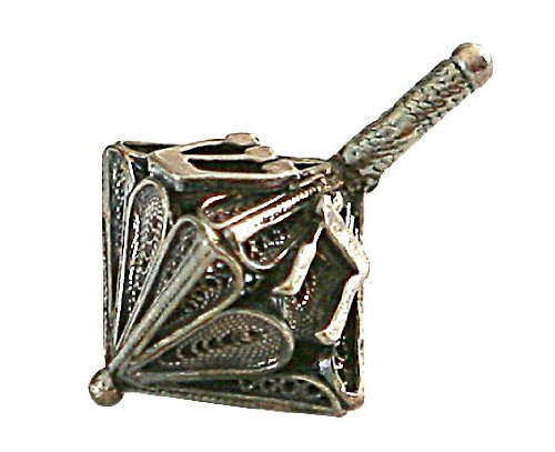 Best Prices! Hanukkah Chanukkah Dreidel Collector's Beautiful Unique 925 Sterling Silver Design, Hand Made , Weight: 5.8 Grams , Size: 1.2″ x 0.6″. Spinning Top . Perfect & Great Gift for Hanukkah Collectors Kids Housewarming Birthday