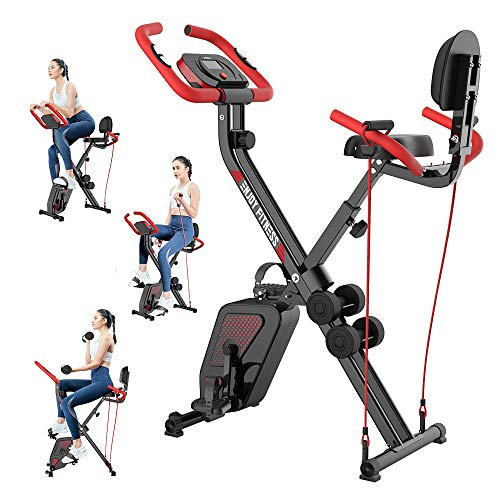 pooboo Exercise Bike for Home Workout Convertible Magnetic Upright Bike