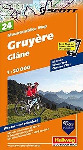Gruyère - Glâne Mountainbike-Karte Nr. 24, 1:50 000: Mit den schönsten 32 Touren, 5 Schwierigkeitsgrade, Mit allen Tourenfacts, GPS Tauglich, Free Map on Smartphone included